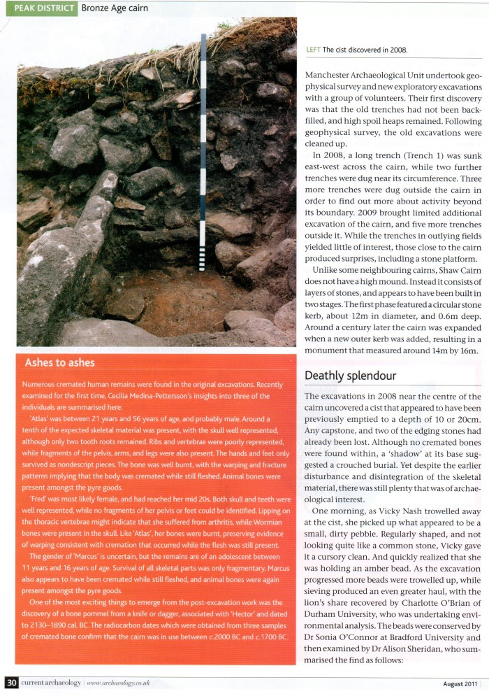 Current Archaeology, 2011: Shaw Cairn Revisited - the dead of Mellor